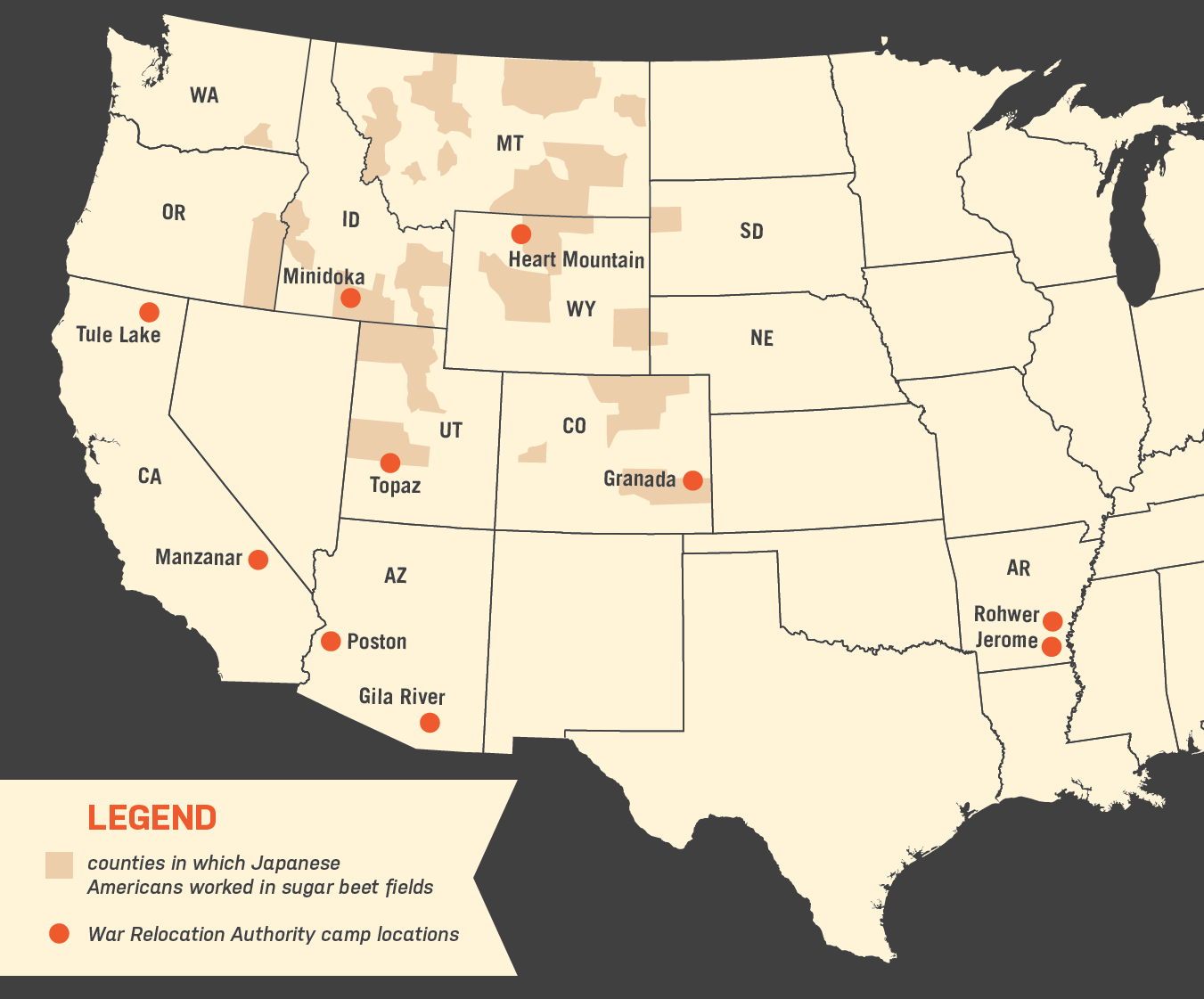 Farm Labor Camps Uprooted - Map-of-japanese-internment-camps-in-us