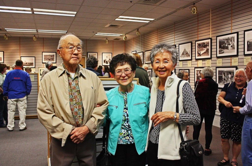 Bob Kido, Hisako Yasuda, and Yae Kido at the opening reception. Siblings Bob and Hisako lived in the Nyssa camp in 1942. Photo courtesy of Four Rivers Cultural Center.