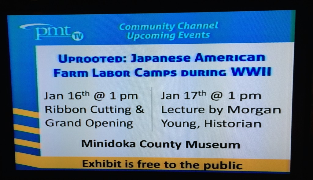 Local television advertised exhibit events during the opening weekend.
