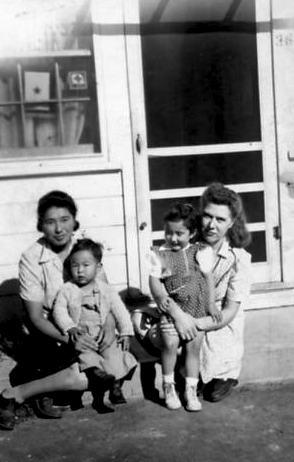 Masami and Hideo [last name unknown]  and Josie and Karen Yonemura at the Twin Falls farm labor camp, circa 1946-1947. Image courtesy of Karen Yonemura Ramirez.