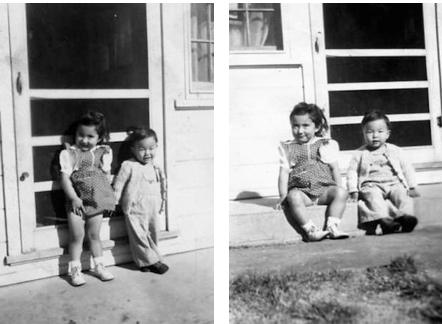 Karen Yonemura and her friend Hideo [last name unknown] at the Twin Falls farm labor camp, circa 1946-1947. Image courtesy of Karen Yonemura Ramirez.