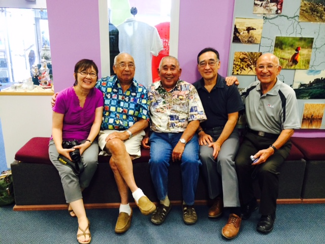 From left: Vicki Nakamura (cousin), Ed Fujii (uncle), Henry Mishima (Gresham neighbor), Russell Yamada (author), and Tom Fujii (uncle) at the Four Rivers Cultural Center in Ontario, Oregon on September 13, 2014. Image courtesy of Russell Yamada.