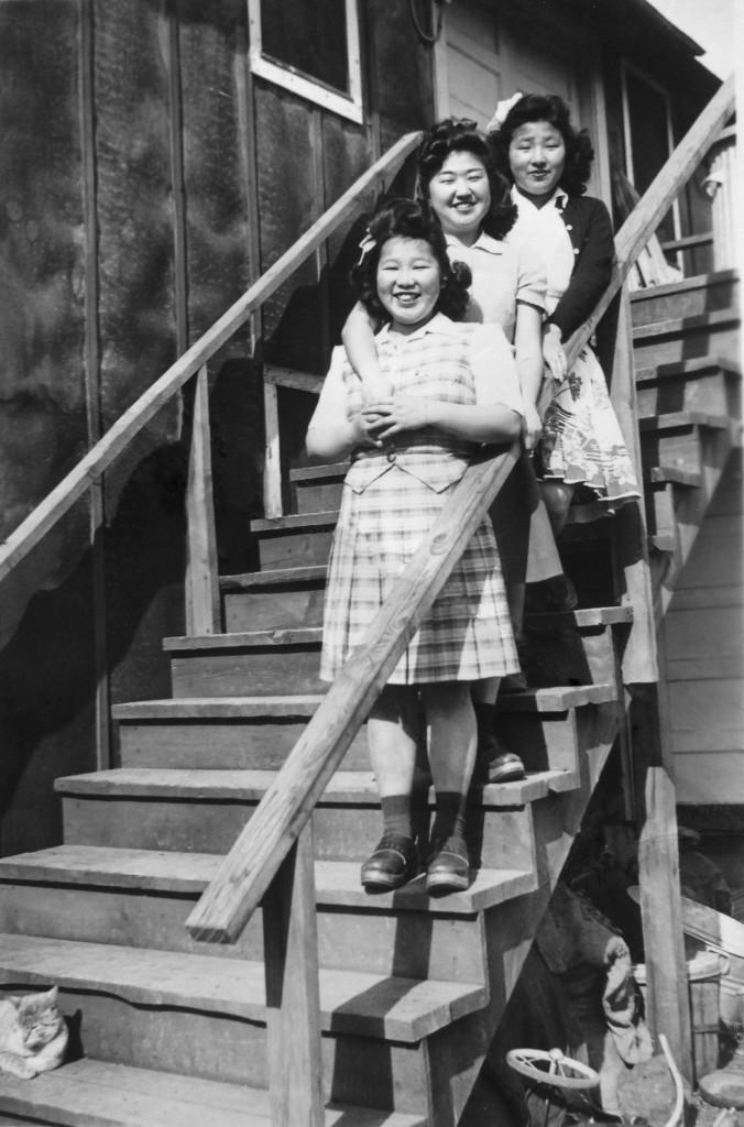Taka Iwasaki, Nori Kido, and Aya Iwasaki at the Adrian camp, circa 1943. Image courtesy of Aya Fujii.