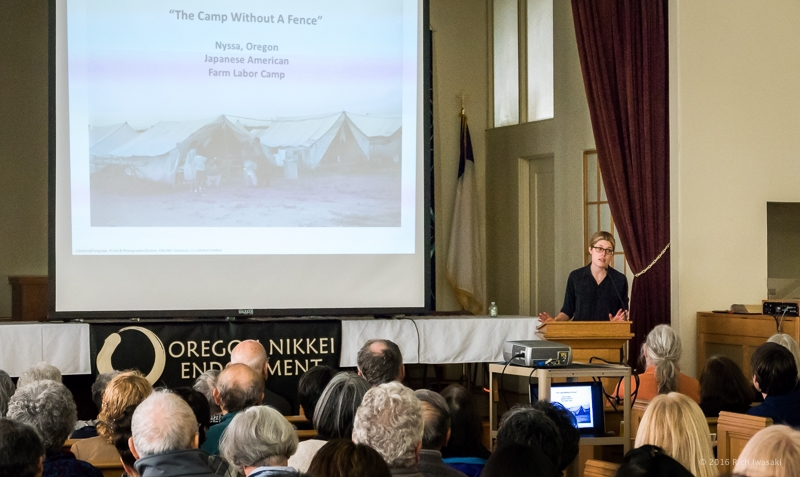 Morgen Young spoke about the history of the Nyssa camp. © 2016 Rich Iwasaki